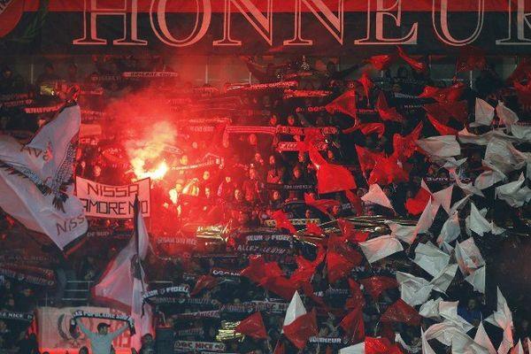 Les supporters niçois lors de la venue de l'AS Monaco le 3 décembre à l'Allianz riviera