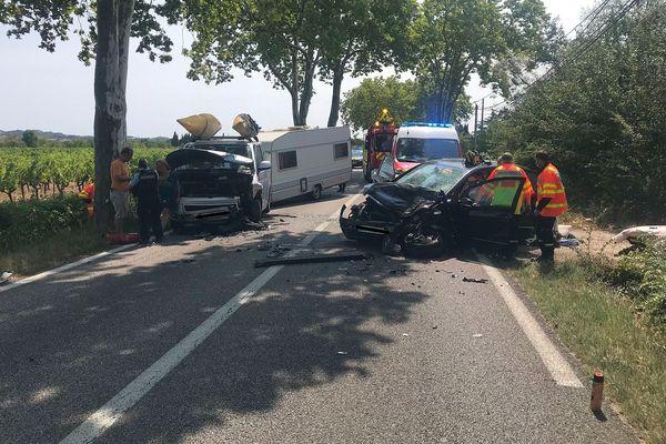 Gard : une violente collision frontale fait 7 victimes dont 2 blessés graves à Castillon-du-Gard - 23 août 2021.