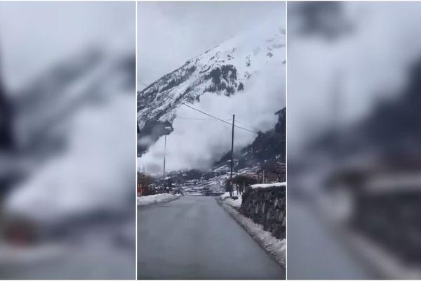 Une avalanche déferlant dans le Val d'Aoste, en Italie, filmée par un internaute le 27 janvier 2021.