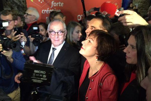 Carole Delga à son QG de Montpellier et Martin Malvy, président de la Région Midi-Pyrénées au moment de l'annonce des résultats du second tour des élections régionales le 13 décembre 2015