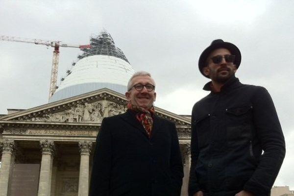 L'artiste JR et Philippe Belaval, président du Centre des monuments nationaux avant les travaux du Panthéon.