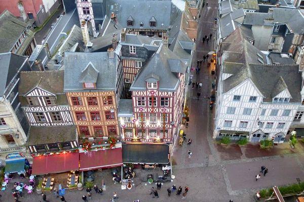 Le quartier de la place du Vieux Marché vu de haut