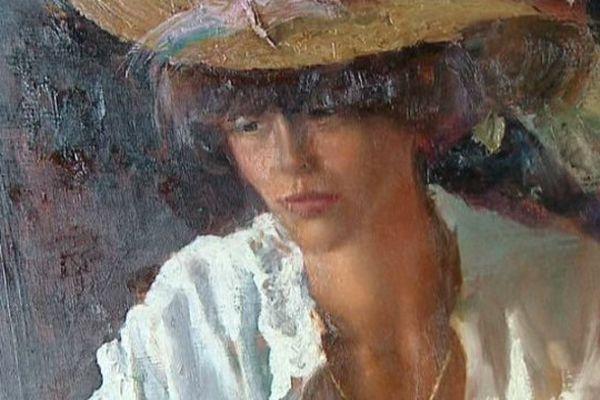 Portrait de Martine, l'épouse de Pierre-Laurent Brenot, peintre, affichiste, illustrateur, dessinateur.