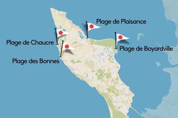 4 zones de baignade surveillées de l'île d'Oléron fermées