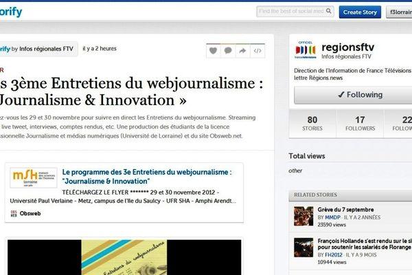 """Capture d'écran du """"storify"""" d'Obsweb proposé par @regions FTV"""