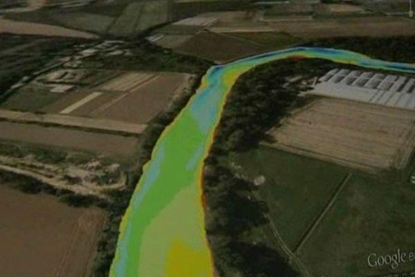 La carte permet de voir les différentes profondeurs du cours d'eau.