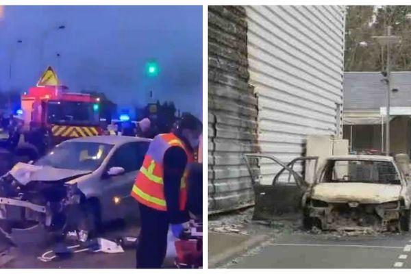 A la suite de l'accident de la circulation à Blois en fin de journée (à gauche), des violences ont éclaté et des véhicules incendiés (à droite).