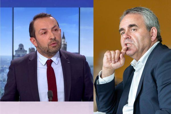 Sébastien Chenu (à gauche) est le candidat RN aux élections régionales. A droite, Xavier Bertrand, l'actuel président de la région.