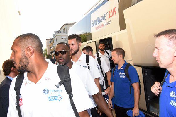 L'équipe de France de basket à son arrivée à Montpellier - 31 août 2015