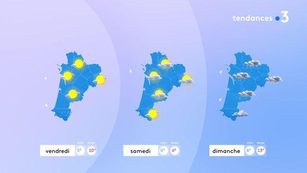 Le soleil reviendra vendredi sauf sur le Pays Basque et le Béarn... Samedi le temps sera variable entre nuages et éclaircies sur l'ensemble de la région... Dimanche, les nuages et la pluie seront de retour...