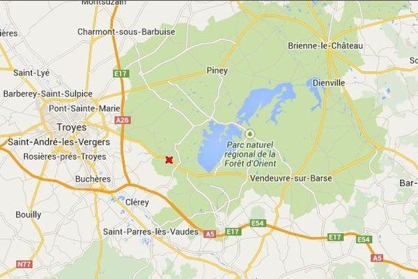 Lieu de la collision : Route Départementale 619 à hauteur de Courteranges, entre Troyes et le lac de la forêt d'Orient.