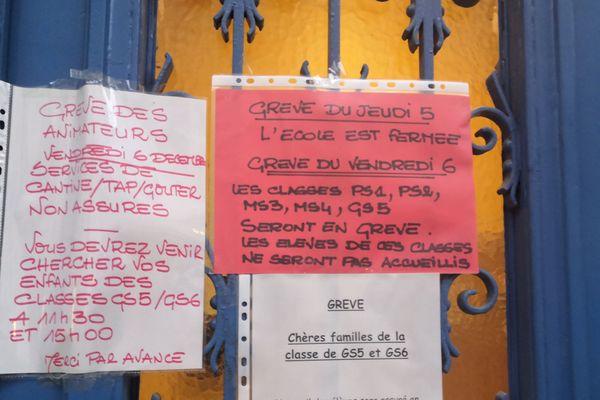 Une école fermée dans le 15e arrondissement en raison de la grève le jeudi 5 décembre.