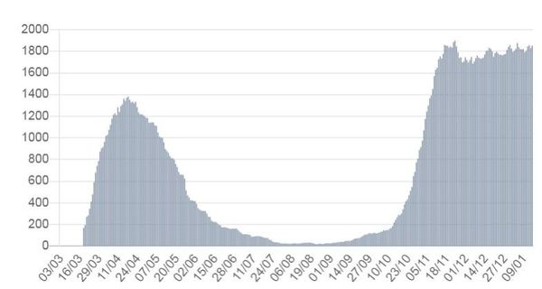 Evolution du nombre de patients covid-19 hospitalisés en Bourgogne-Franche-Comté entre mi-mars et mi-janvier