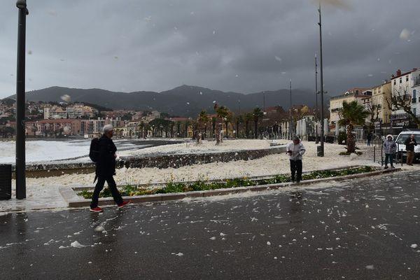 Le département des Pyrénées-Orientales reste en alerte pluie-inondation jusqu'à jeudi matin 5 heures. Banyuls-sur-Mer le 21/01/2020.