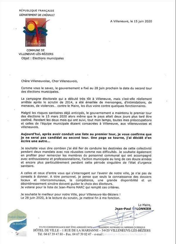 Le courrier adressé par Jean-Paul Galonnier à ses administrés le 15 juin dernier.