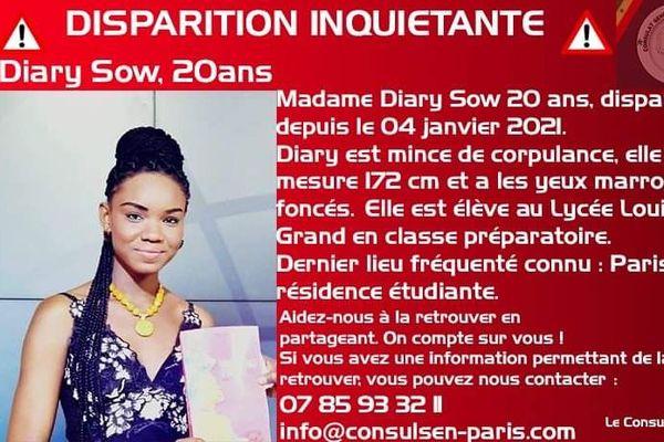 Elève au lycée Louis le Grand en classe préparatoire, Diary Sow, 20 ans a disparue depuis le 04 janvier 2021.