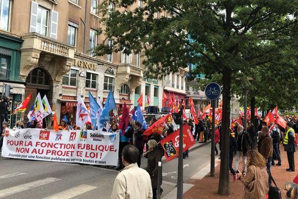 Place Bellecour manifestation pour la fonction publique à Lyon le 09 mai 2019