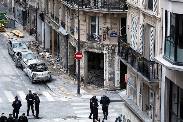 Les restes de la boulangerie située dans l'immeuble où l'explosion a eu lieu, le 14 janvier 2019 rue Trévise à Paris.
