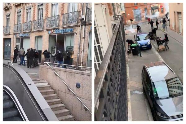 Deux vidéos tournées durant la manifestation du samedi 16 janvier 2021 à Toulouse (Haute-Garonne) montrent des forces de l'ordre prises à parti (image de gauche) mais aussi des violences policières (image à droite).