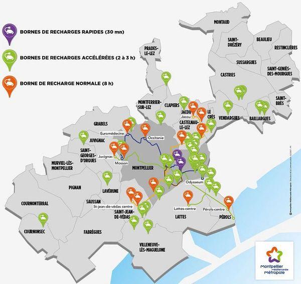 La carte du futur réseau de bornes de recharge pour voitures électriques de la métropole de Montpellier - 2018.