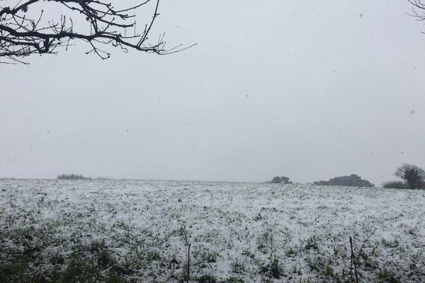 La neige à Bourg Blanc dans le Finistère