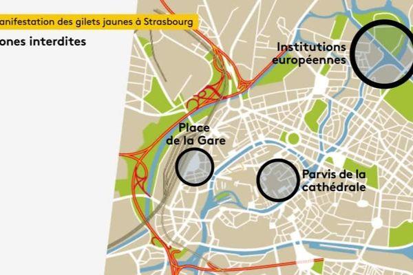 Samedi 27 avril, trois zones seront interdites au rassemblement des gilets jaunes attendus de France et d'Outre-Rhin
