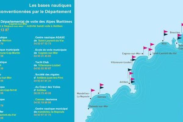Voici la liste des bases nautiques subventionnées par le département.