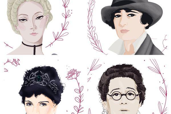 De gauche à droite et de haut en bas, d'illustres inconnues tourangelles : Louise Dupin, Jehanne d'Orliac, Bernadette Delprat et la comtesse de Poix