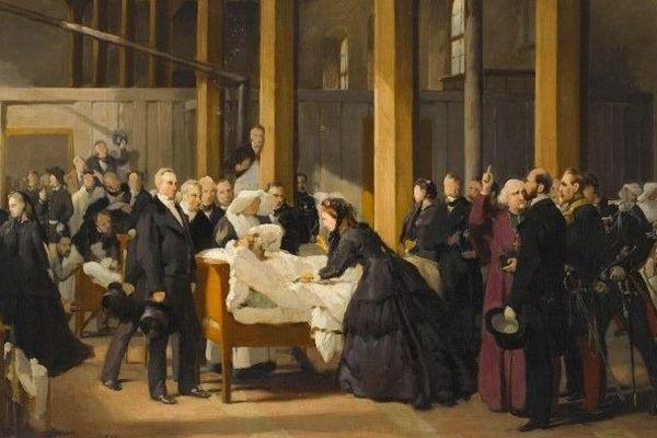 Paul-Félix Guérie - L'Impératrice Eugénie visitant les cholériques de l'Hôtel-Dieu à Amiens, le 4 juillet 1866