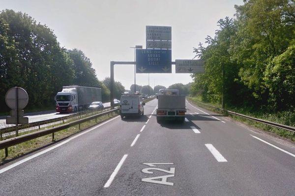 Quatre véhicules se sont percutés sur l'A21 à Lens (illustration)