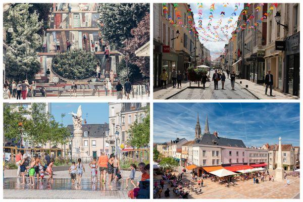 De gauche à droite et de haut en bas, les centres-villes de Blois, Montargis, Châteauroux et Chartres