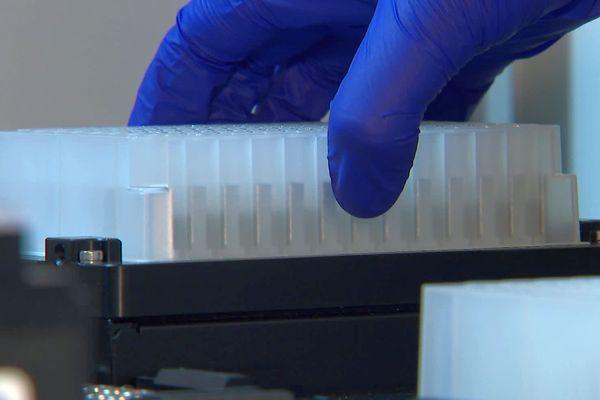Des prélèvements test du Covid-19 sont effectués au laboratoire d'analyses du CHRU de Nancy.