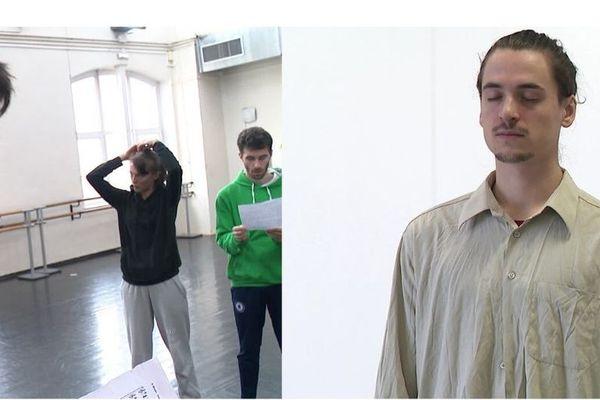 """Le danseurs Tristan Ihne et Matéo Lagière pendant la répétition de Carte blanche """"Oïkos"""""""
