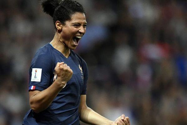 La joie de Valérie Gauvin, attaquante de l'équipe de France et de Montpellier, après son but face à la Norvège - Coupe du monde féminine de football 12/06/2019