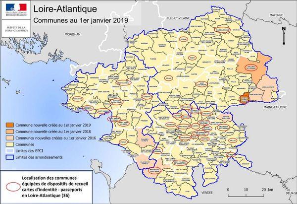 La carte localisant les 36 communes équipées du dispositif de recueil des cartes d'identité et passeports en Loire-Atlantique