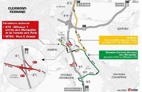 Les 15 et 16 juin, des déviations pour accéder à l'A75 vers Paris ou Montpellier sont mises en place.