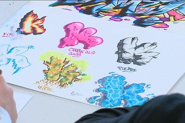 Rezo, grafffeur célèbre a donné des cours de graffitis aux enfants de Carcassonne
