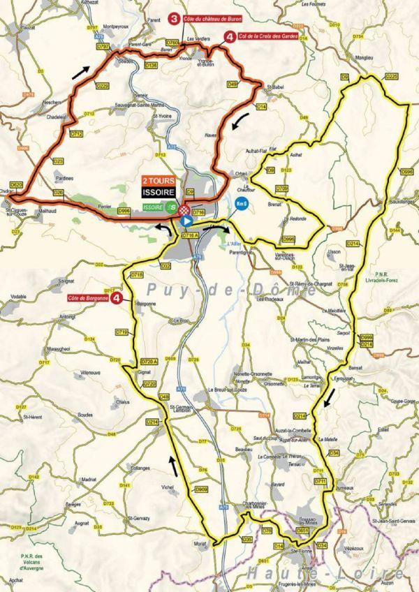 Voici le tracé de l'étape Issoire-Issoire du Critérium du Dauphiné, dimanche 30 mai.
