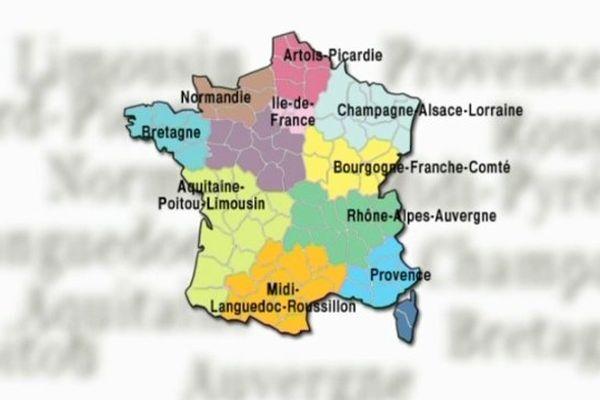 La futur carte des régions, comme envisagée par les hauts fonctionnaires.