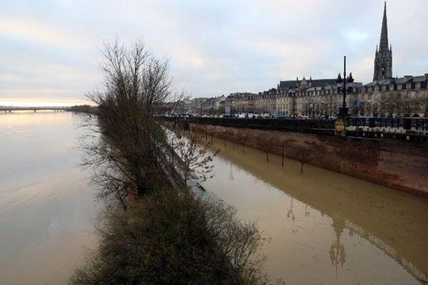 Les quais de la Garonne à Bordeaux inondés, le 31 janvier 2014
