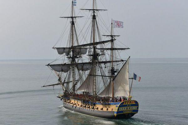 L'Hermione prendra la direction de Yorktown (Virgine, Etats-Unis), le 18 avril 2015, depuis l'île d'Aix (Charente-Maritime)