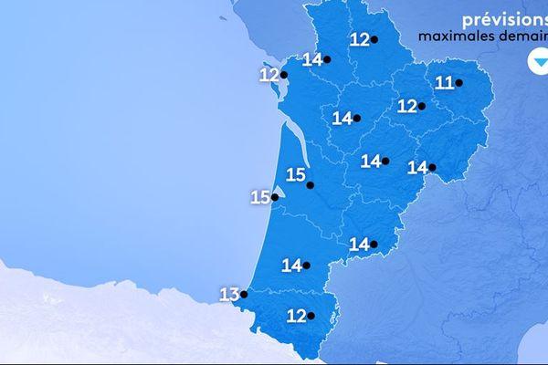 15° au maximum à Bordeaux et Arcachon