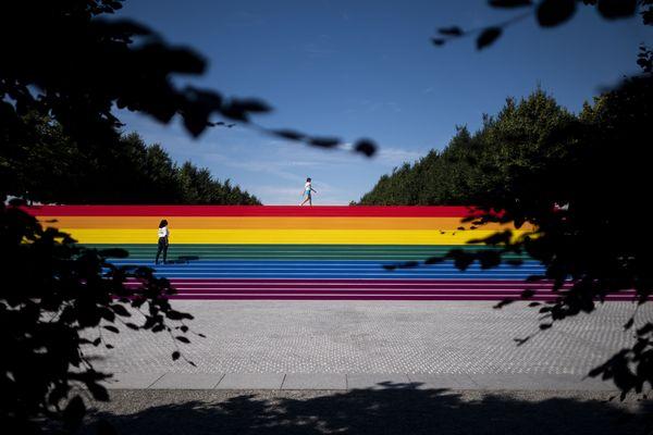 Les marches du parc Franklin D. Roosevelt, aux Etats-Unis, pour le mois des fiertés - Photo d'illustration