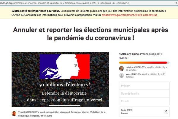 Une pétition signée par plus de 14 000 personnes demande le report dans élections municipales.