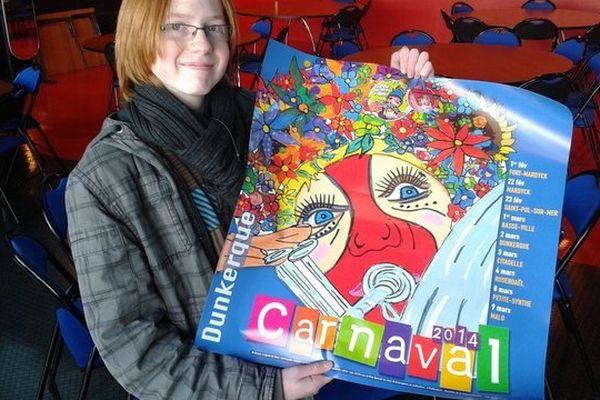 Marc Verhaegen, 13 ans, montre l'affiche du carnaval 2014 qu'il a dessinée.