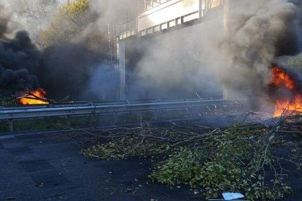 Dimanche, les manifestants ont allumé des feux sur la chaussée avec des arbres et des pneus sur l'A10, à virsac.