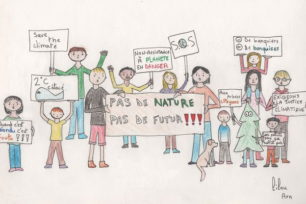 Ce dessin a été réalisé par Lilou, un des enfants de ces 43 parents drômois, qui réclament des actions au préfet pour la protection de l'eau, l'air, et la sécurité alimentaire, par exemple.