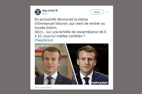 Capture d'écran du tweet dévoilant une photo de la statue de cire d'Emmanuel Macron, le 13 mai 2018.