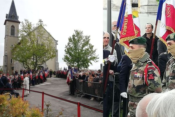 Plusieurs centaines de personnes se sont rassemblées devant l'église de Montagny-les-Lanches pour l'hommage à Alain Bertoncello. Parmi elles, le visage caché par une cagoule kaki, des membres du commando Hubert.