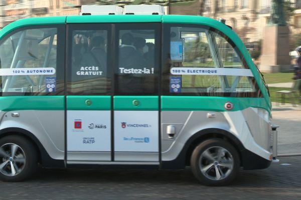 L'une des navettes autonomes testées à Vincennes, don l'expérimentation a débuté en novembre 2017.